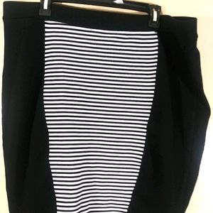Torrid Ponte Pencil Skirt Black & White Striped